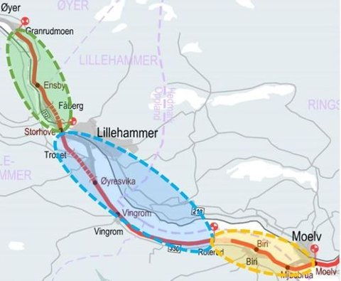 Nye Veier har delt prosjektet i tre kontrakter. Konkurransen for strekningen i midten, fra Roterud til Storhove, blir offentliggjort allerede i april i år. Konkurransen for Moelv – Roterud lyses ut i juni, mens den nordligste delstrekningen fra Storhove til Øyer skal ut i markedet i august.