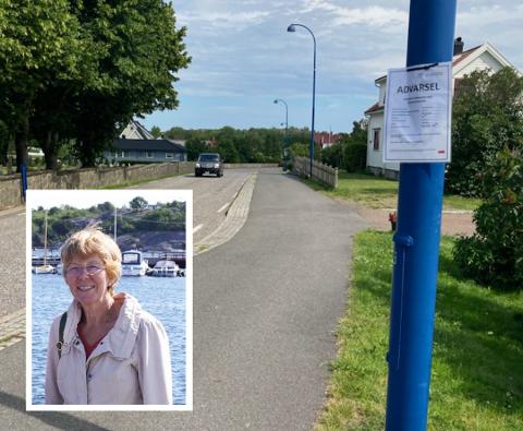 Brosteinen man ser mellom bilvei og gang- og sykkelsti ble sprøyta i slutten av juni, og skiltet med ADVARSEL ble hengt opp.