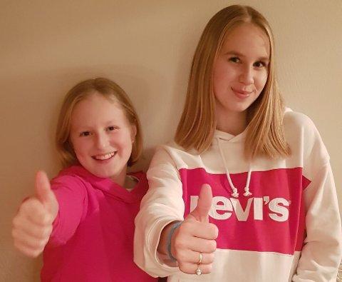 HÅRFIN: Amalie Sofi (10) og storesøster Amanda Lois (16) har begge klipt seg kort og donert håret trengende.