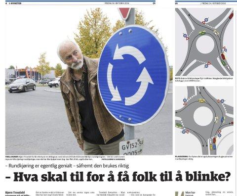 Faksimile: Vær flink, blink, oppfordret Bjørn Trosdal i oppslaget 14. oktober.