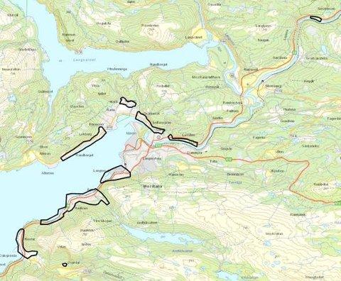 I de skraverte områdene skal NGI kartlegge skredfare i bratt terreng.