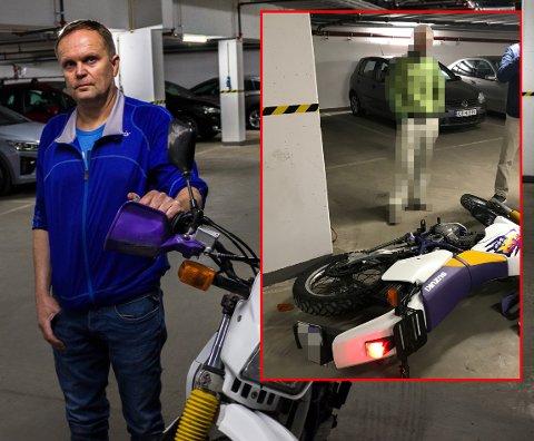TATT PÅ FERSKEN: Politiet opplyser til RB at den pågrepne mannen er en kjenning av politiet. Her har Roar Melås og naboene akkurat stoppet ham fra å stjele Melås's motorsykkel. FOTO: PRIVAT / STIAN DRAKE