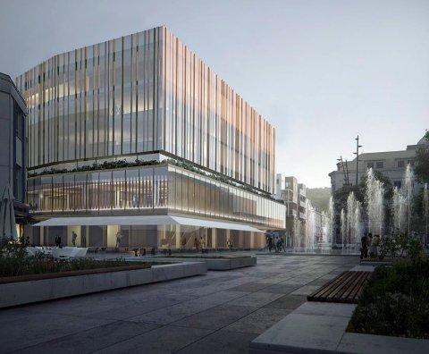 SIGNALBYGG: Storgata 1 skal få påbygg, tilbygg og fasadeendring, ifølge planene til Larre Eiendom AS. (Illustrasjon: Schjelderup Trondahl Arkitekter)