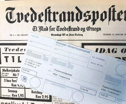 Den gang da: For 47 år siden kostet det 44 kroner i året å abonnere på Tvedestrandsposten.Foto: Mette Urdahl
