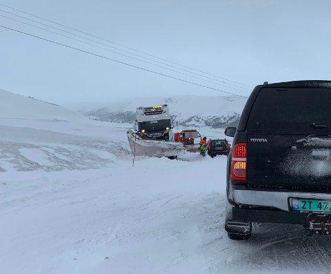 Veien er midlertidig stengt.