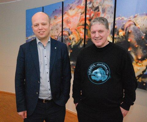 STYGGE TALL: Senterpartiet faller fem prosentpoeng i Finnmark på siste måling fra InFact. Leder Trygve Slagsvold Vedum og stortingsrepresentant for Finnmark, Geir Adelsten Iversen, har mindre grunn til å smile enn tidligere.