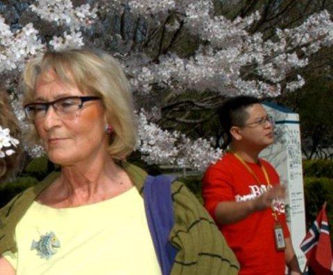 Grete Josefa Arctander fra Ballstad gikk bort i 2020. Her fotografert under en tur til Kina våren 2007.