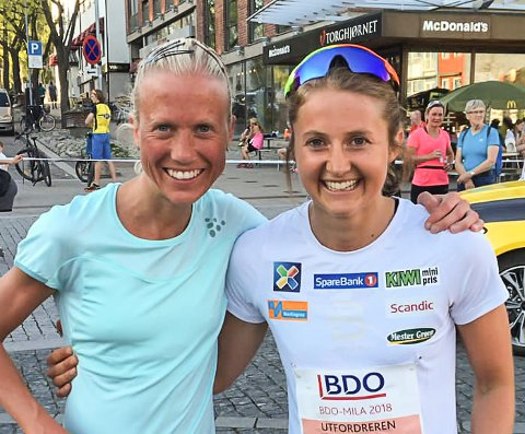 Marthe Katrine Myhre (t.v.) og Ingvild Flugstad Østberg fotografert etter BDO-mila i 2018.