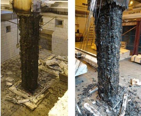 Slik vil brann påvirke limtrekonstruksjonene som vil bevare bæreevne. Foto: Moelven Industrier