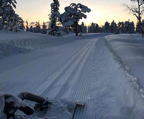 VINDFJELL: Fredag morgen tok løypekjøreren på Vindfjell dette bildet. Da kjørte han hele traseen til Vindfjelløpet.