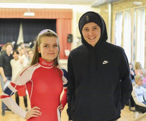 PRESIDENTER: Hedda Emilie Mikaelsen (19) fra Tomter og Jo Bendik Huth (18) fra Skiptvet spiller to fiktive russepresidenter.