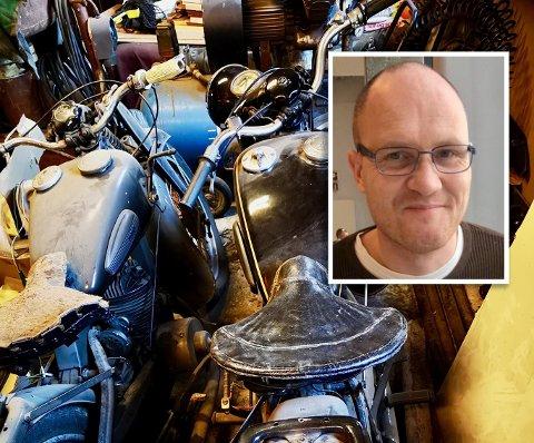 Øystein Lone har ikke kjørt veteranmotorsykkelen sin på mange år. – Den har definitivt ikke vært på Flesland i det siste.