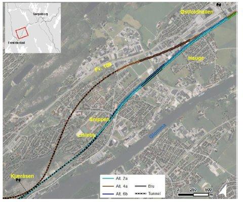 To traseer vurderes forbi Lisleby: Jernbanen skal enten følge den lyseblå trasé 2a, gjennom Lisleby, eller følge den brune trasé 4a, med lang tunnel til Gamle Glemmen kirke og bru gjennom Dikeveien.   (Illustrasjon: Bane NOR og Lill Mostad)