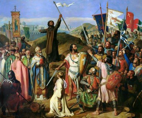 Korsfarere rundt Jerusalem i år 1099, malt av franske Jean-Victor Schnetz fra  1841. – Dette var starten på en kontinuerling kamp mot øvrige verden fra vesten side, skriver Odd Løkkevik.