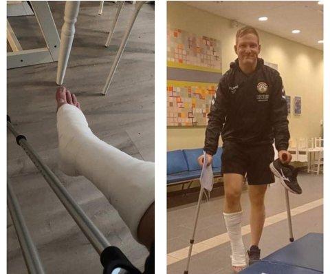 Søndagens fotballtrening endte med en røket akilles og tur til akutten for Kevin Løining som bor på Figgjo.
