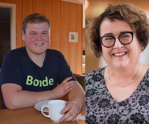 Hylles: Sander Hagen (18) fra Momoen får en stor klapp på skuldra fra Landsbruks- og matminister Olaug Bollestad (KrF).