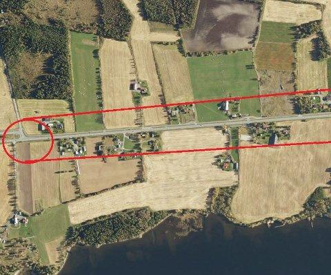 VISUALISERING: En firefelts motorvei vil går ut over matjord og eiendommer over en strekning på 15 kilometer. Her er det markert inngrep i nærheten av Blilie-krysset på Eina.