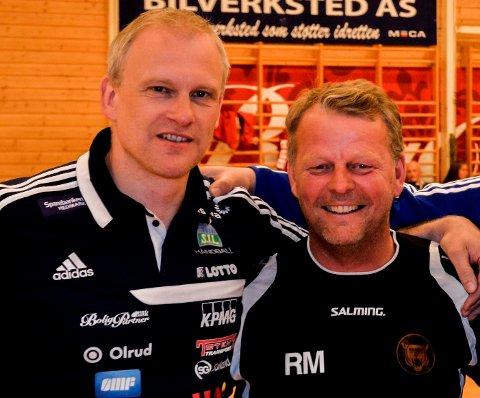 Sammen igjen: Arne Senstad (t.v.) og Reidar Møistad har jobbbet sammen i Storhamar tidligere. Dette bildet ble tatt da Storhamar møtte København, der Møistad var trener i to sesonger, i treningskamp i juni 2015. Nå skal de trolig trene det polske landslaget sammen.