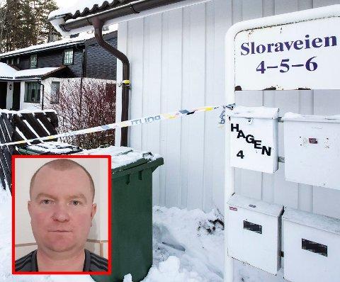 Sloraveien 4 Lørenskog. Politiet har Eiendommen til Tom Hagen hvor kona Anne-Elisabeth Falkevik Hagen ble bortført fra.