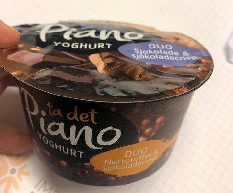 Tine tilbakekaller denne varianten av Piano Duo yoghurt sjokolade og sjokocrisp med feil emballasje (som på bildet) og med datomerking: best før 20.02.20.