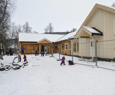Elveland barnehage fra byggeprosjektet for utvidelsen i 2016.