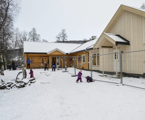 For liten: Elveland barnehage i Ålen har gjort jobben. Nå vil flertallet av politikerne i formannskapet bygge en ny barnehage med seks avdelinger i Ålen. Forslag til løsning og lokalisering bør etter formannsakpets mening foreligge før september i år. FOTO: