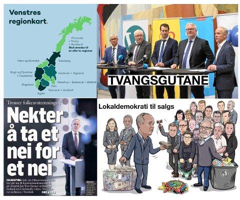 Som om ikke tvilsomme gulrøtter, utilbørlig pisk og trusler om økonomisk strupetak var nok, blir Norge forandret gjennom rein skjær tvang, hestehandel og fravær av bred enighet. Et skremmende eksempel er at regionkartet ser ut til å bli slik Venstre tegnet det.