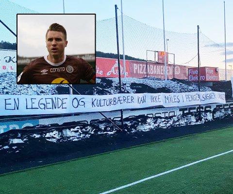 Disse bannerne kunne MIF-trener Vegard Hansen se fra sin terrasse da han sto opp i morges. Mjøndalen-supporterne ber klubben på nytt å signere Christian Gauseth.