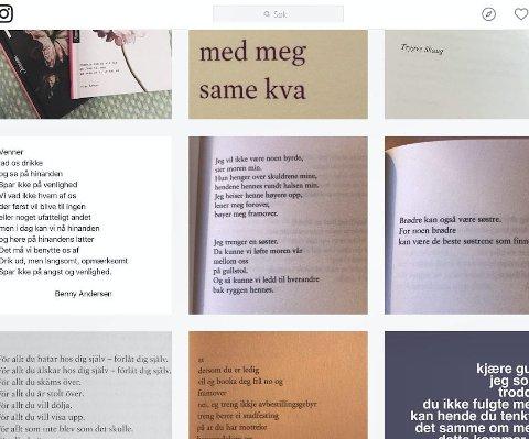 @renpoesi: Ellen Wisløff står bak instagramkontoen @renpoesi. Her deler hun dikt med over 30.000 følgere. Skjermdump