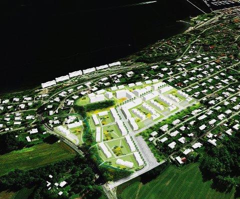 NEDJUSTERT: De nye tegningene er basert på bestemmelser om mellom fire og fire og en halv boenheter per dekar på Solbergjordet.