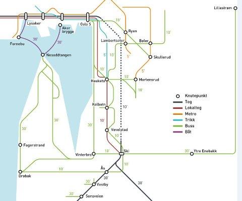 RUTEKART: Fremtidens rutekart for Oslo sørøst.