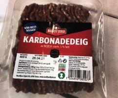 Nordfjord karbonadedeig 400 gram med siste forbruksdato 26. april 2021 trekkes tilbake. Foto: Nordfjord Kjøtt / NTB