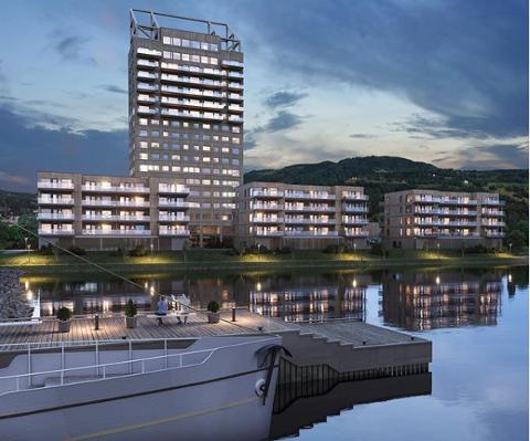 SNART SALGSSTART: Om kort tid åpner salget av 48 leiligheter i tre bygg nedenfor Mjøstårnet. Skissen viser i hovedsak hvordan det vil bli seende ut, sett fra Skibladnerbrygga.
