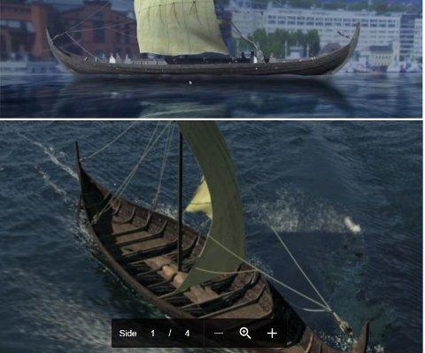 3D-modell: Slik kan Tuneskipet ha sett ut på 900-tallet. Rekonstruksjonsforslaget til forsker og arkeolog Knut Paasche tyder på at skipet opprinnelig kan ha vært 18,7 meter langt, fire meter bredt og 1,3 meter fra reling til kjøl. Skipet var flatere i bunnen, hadde langt større seilføring og kan ha gjort betydelig større fart enn de to mer kjente fartøyene fra gårdene Oseberg og Gokstad i Vestfold.