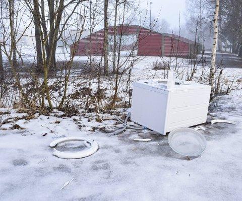 DUMPET: Denne vaskemaskinen er dumpet like ved Moen skole.