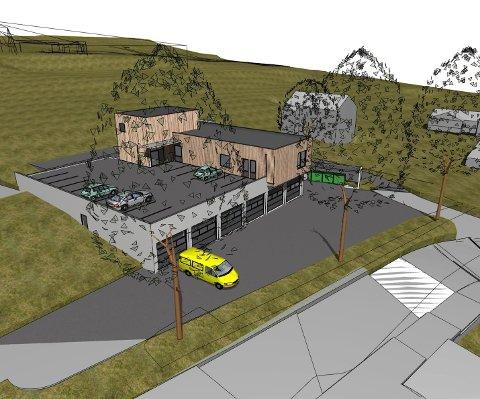 NY STASJON: Slik skal den nye ambulansestasjonen på Kjelle se ut. (Illustrasjon: Sykehuset i Vestfold)