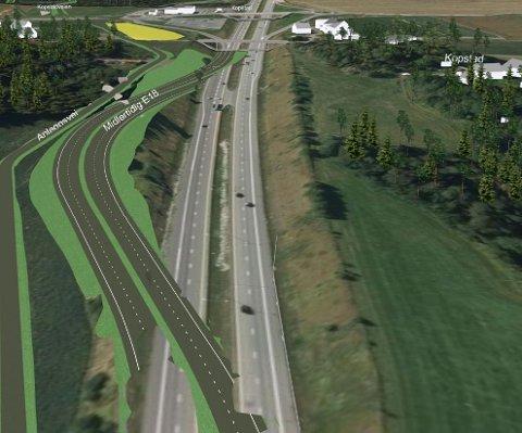 Slik går motorveien nå etter at E18 måtte legges om. Årsaken er at det bygges nytt dobbeltspor rett under veien.