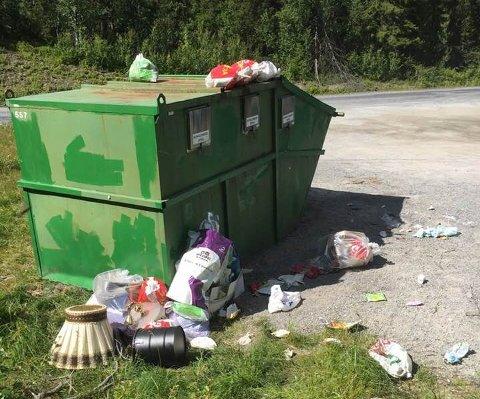 NYSTØL: Et nytt tilfelle av overfylte containere med avfall liggende strødd utenfor fra denne helgen på Nystøl i Etnedal.