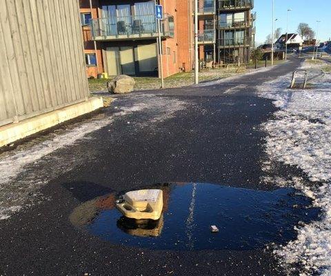 Oljesøl og lighter: Dette synet møtte Norund Moen da hun gikk på tur fredag morgen.