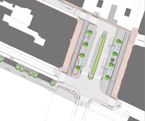 NYTT NEDRE TORG: Slik er planen for nye nedre del av Bragernes torg. Den planlagte motorsykkelparkeringen ringet inn i rødt.