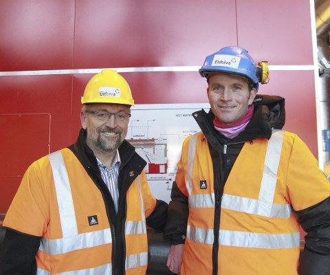 STOLT DAG: Ordfører i Kongsvinger kommune, Sjur Strand, og daglig leder i Kongsvinger Bioenergi, Lars Kleppe, kunne ikke skjule stoltheten av å få den tredje varmesentralen offisielt åpnet.