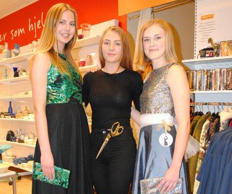 REDESIGN: Synne Kollstad i grønn og sort kjole, Mari Oline Sundby i sort med gullsaks og Stine Bosheim i sølv og blå kjole.