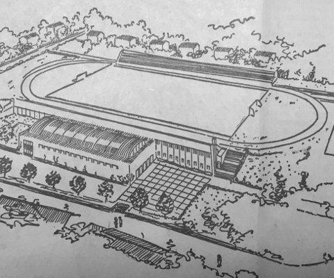 Idrettens Hus: Slik ble idrettens nye storstue presentert av Idrettsrådet i 1950. Hallen skulle ligge langs Halden stadion mot Peder Ankers gate, og med ståtribune som en integrert del av anlegget.Faksimile av HA 12. januar 1950