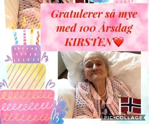 100 ÅR: Kirsten Johansen fikk en fin feiring på Melløsparken sykehjem med blomster og kake, men uten klemmer fra barn og barnebarn.