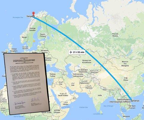 DIREKTE SENJA-SANYA: Det vil ta nærmere 22 timer å fly fra Senja i nord til Sanya i Kina med de drøyt 8200 kilometrene som ligger mellom. Nå har stedene skrevet samarbeidsavtale for å løfte blant annet turisme.