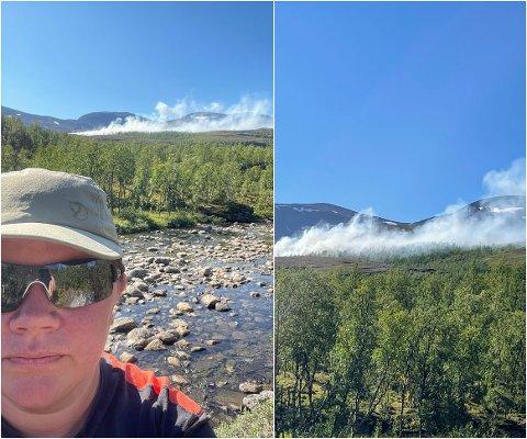 SKOGBRANN: Agneta Kajander forteller at brannen sprer seg fort i den knusktørre lyngen.