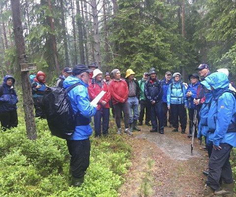 MED HAUGEN PÅ TUR: Skogbestyrer Reidar Haugen i Ski kommuneskoger sier aldri nei når Skiforeningen Sørmarka ber ham stille opp som turguide. Bildet er fra en tidligere tur. FOTO: PRIVAT