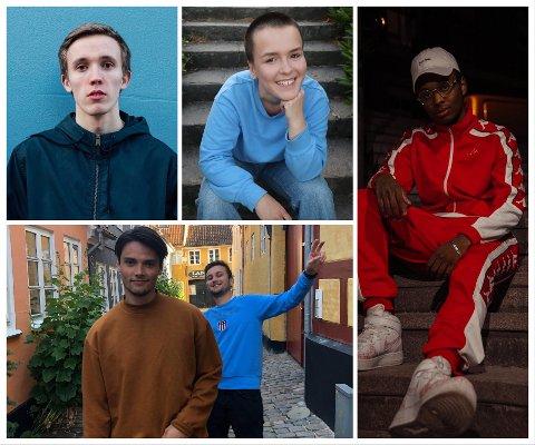 DE FIRE KANDIDATENE: Oscar A. (Oscar Almquist) fra Tønsberg (t.v.), Winona (Winona Karmen Huseby Løver) fra Larvik,  Riel (Gabriel Paulsen) fra Porsgrunn og Moshu (Lavrans Tufte og Christian Hjerpsted) fra Larvik.