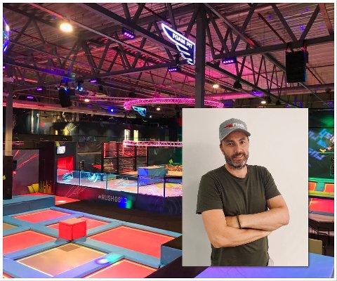 TIL LARVIK: Gründer Petter Haagaas driver 10 trampolineparker i Skandinavia. Til høsten åpner han nummer 11 i Larvik i samme lokaler som Gravity Larvik holdt til.