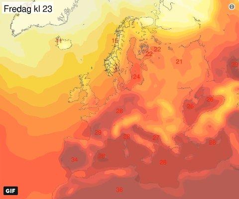 Det skal bli veldig varmt sør i Europa de neste dagene, særlig i Portugal, Spania og sør i Frankrike. Varmen trekker også nordøstover, men vi i #Norge kommer ikke til å bli berørt av denne hetebølgen, skriver Meteorologene på twitter.
